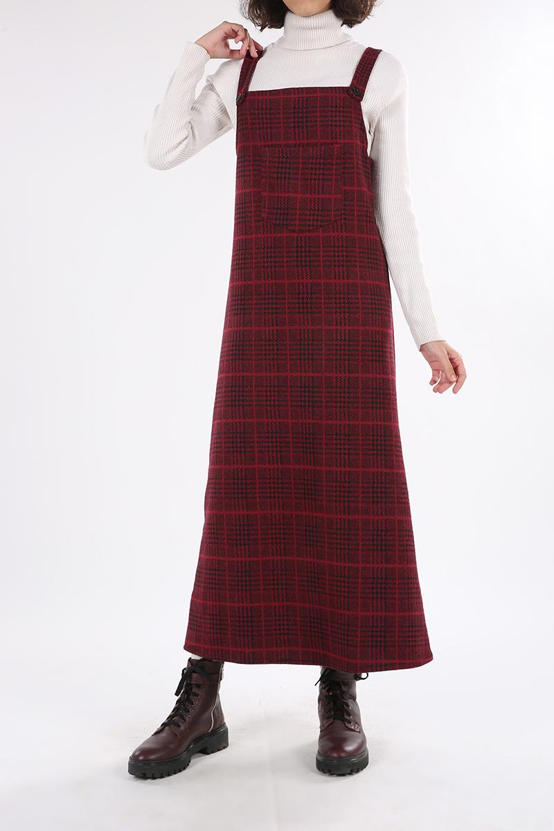 Kazayağı Düğmeli Cepli Jile Elbise
