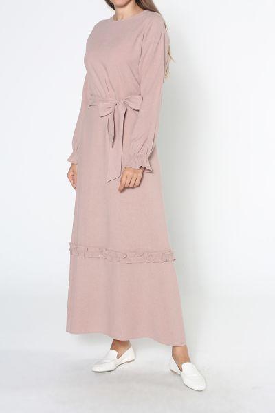Büzgülü Kuşaklı Elbise