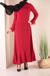 Kol Ağzı Detaylı Volanlı Elbise
