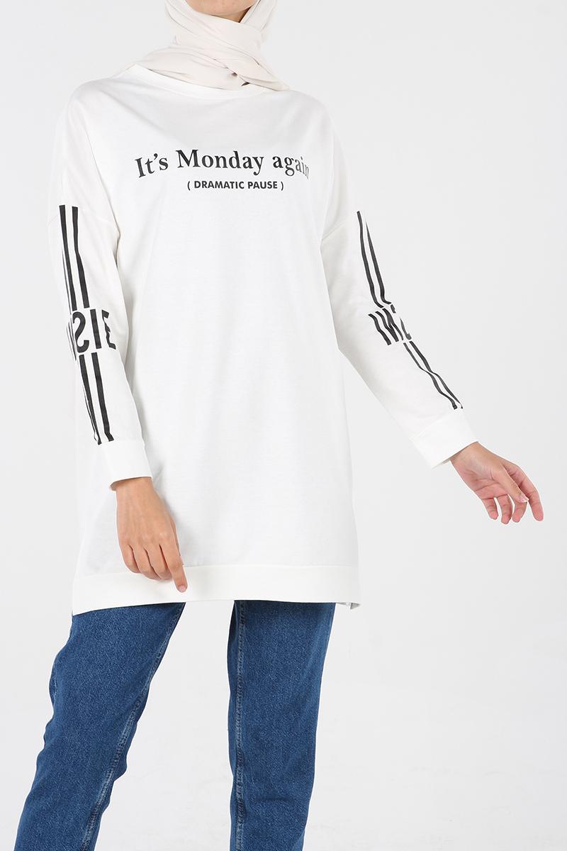 Kol Baskı Detaylı Sweatshirt