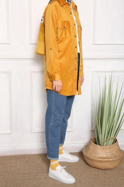Kol Çıtçıtlı Cepli Kadife Gömlek Tunik