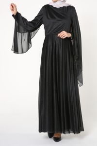 Kol Detaylı Simli Abiye Elbise