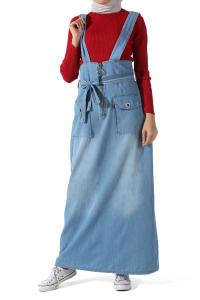 Bağcıklı Cepli Salopet Elbise