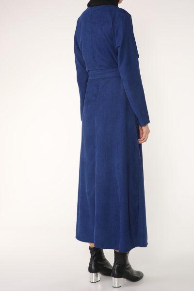 Kuşaklı Düğme Detay Elbise