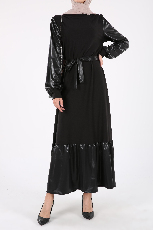Kuşaklı Kolları ve Eteği Deri Görünümlü Rİbanalı Elbise