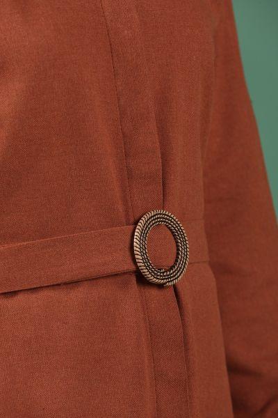 Kuşaklı Yanları Düğmeli Gömlek Elbise