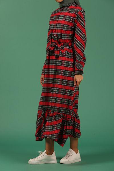 Yarım Patlı Kuşaklı Eteği Fırfır Ekose Elbise