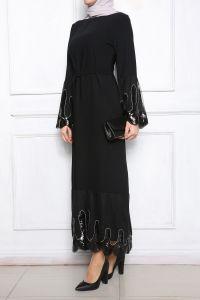 Kuşaklı Eteği Pul İşleme Astarlı Elbise