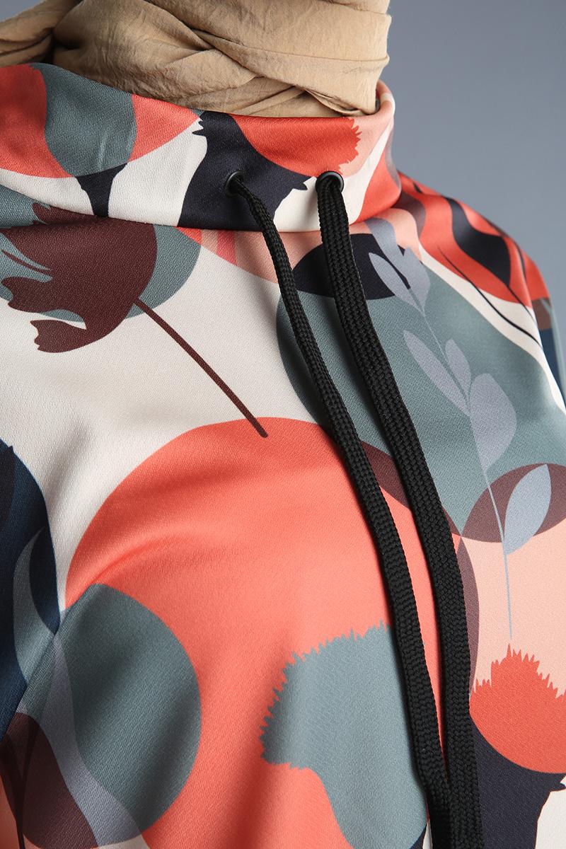 Kuşgözü Yaka Bağcıklı Desenli Tunik