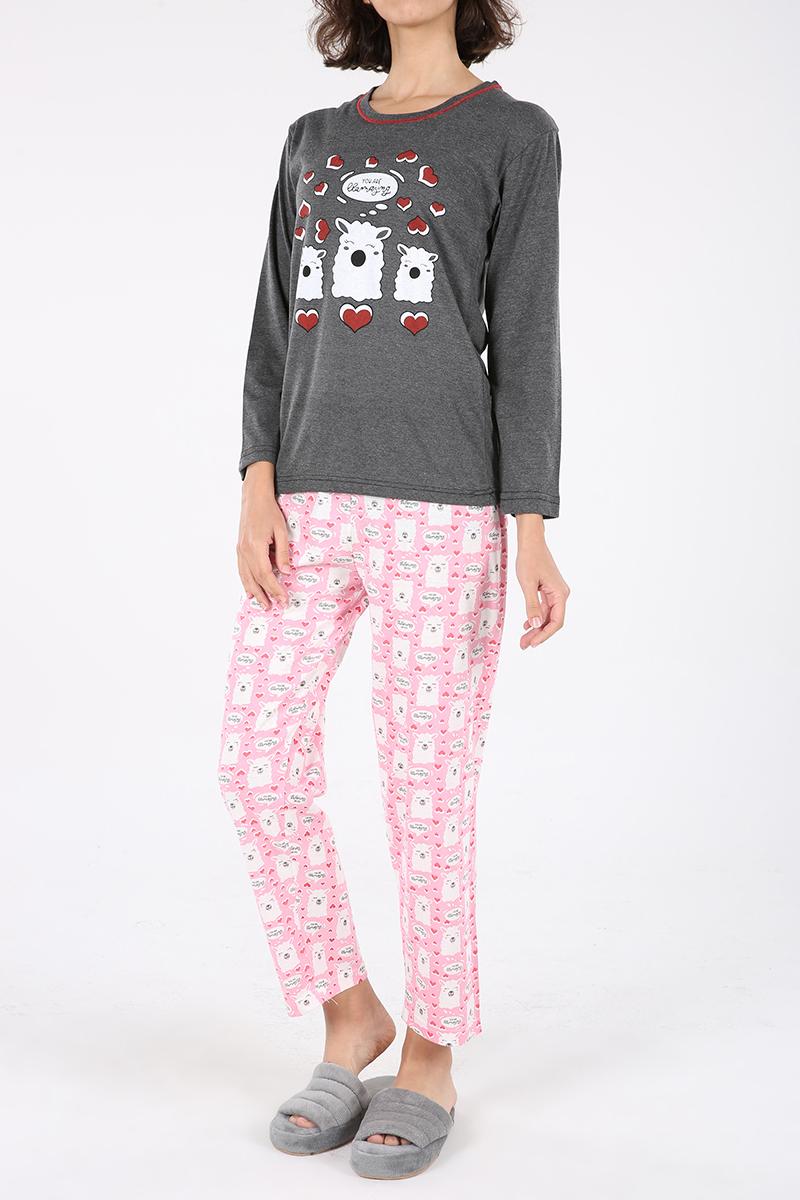 Lama Baskılı Pijama Takımı