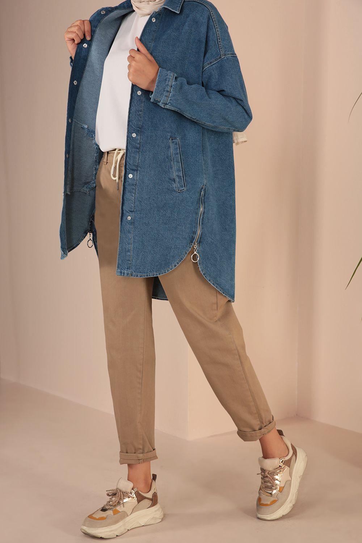 Çıtçıtlı Fermuarlı Cepli Jean
