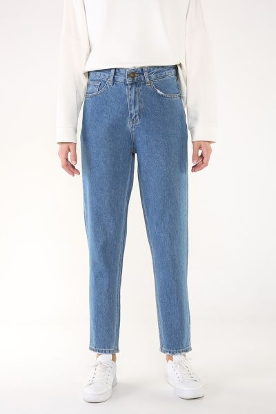 Doğal Kumaş Mom Denim Pantolon