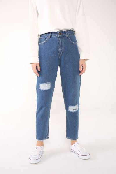 Mom Cepli Yamalı Denim Pantolon