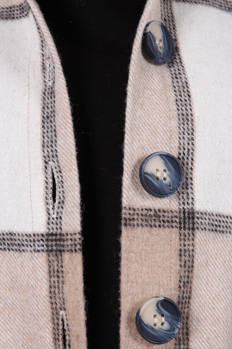 Düğmeli Oduncu Ekoseli Rahat Kalıp Ceket