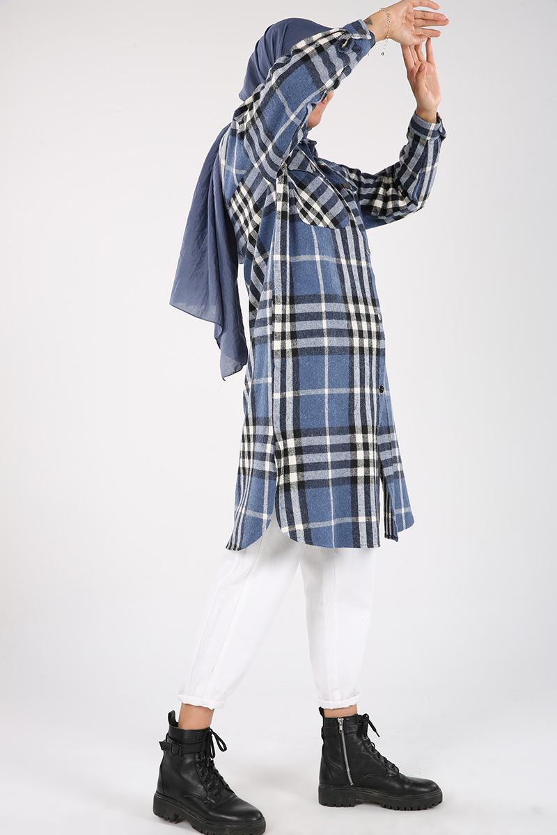 Oduncu Ekoseli Düğme ve Cep Detaylı Gömlek Tunik