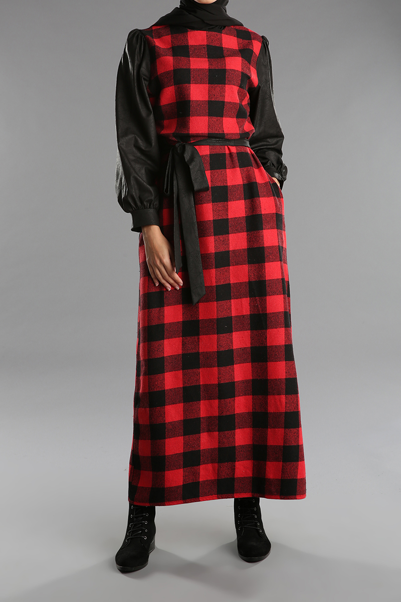 Omuzları Büzgülü Kuşaklı Desenli Fermuarlı Cepli Elbise