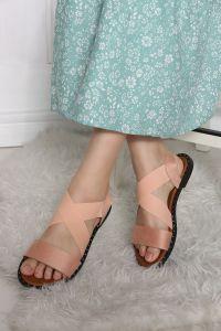 Önü Açık Süet Sandalet