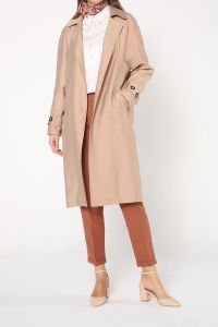 Önü Açık Kol Kemerli Uzun Ceket