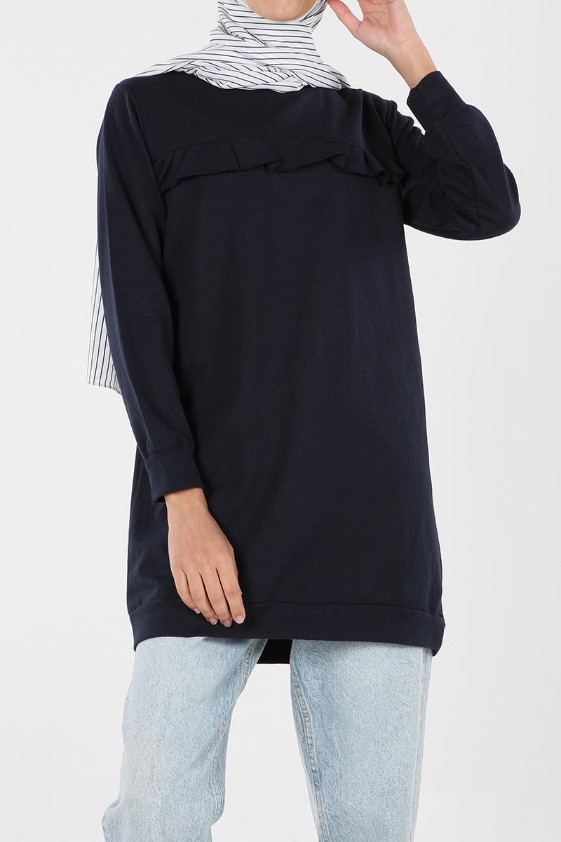 Önü Fırfırlı %100 Pamuklu Sweatshirt