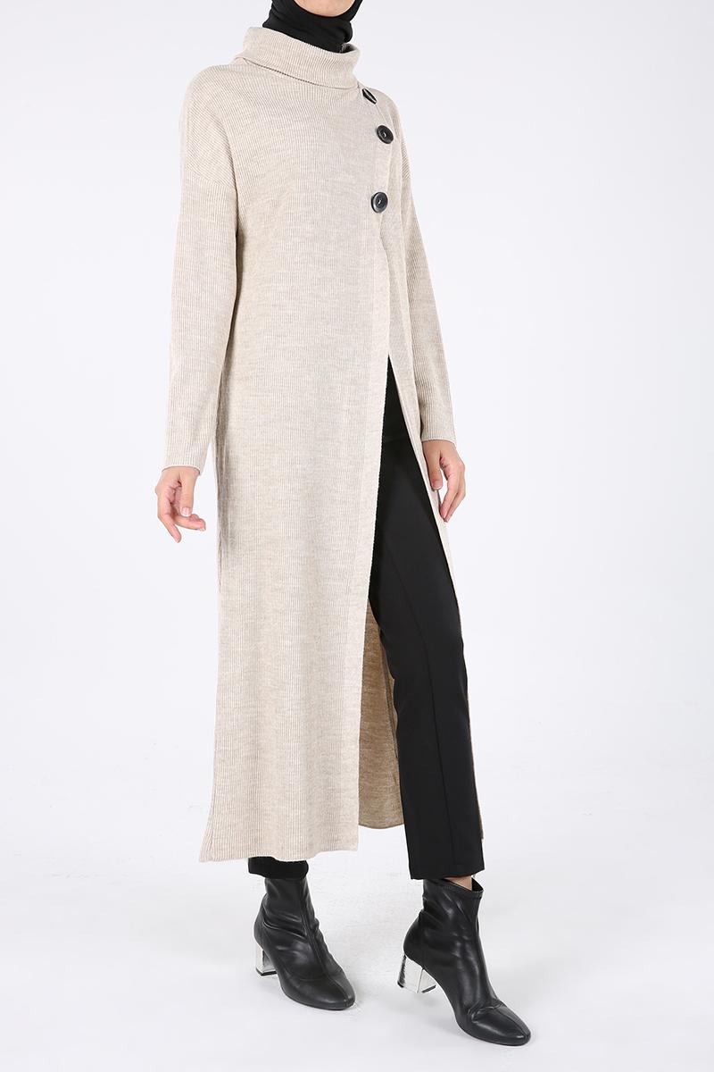 Önü Yırtmaçlı Düğme Detay Simli Triko Uzun Tunik