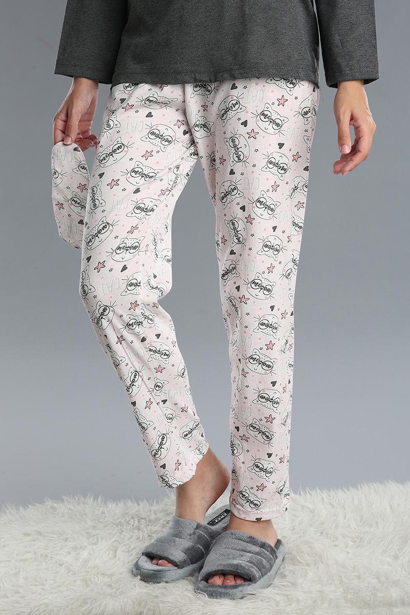Pamuklu 3 Parça Baskılı Desenli Pijama Takımı