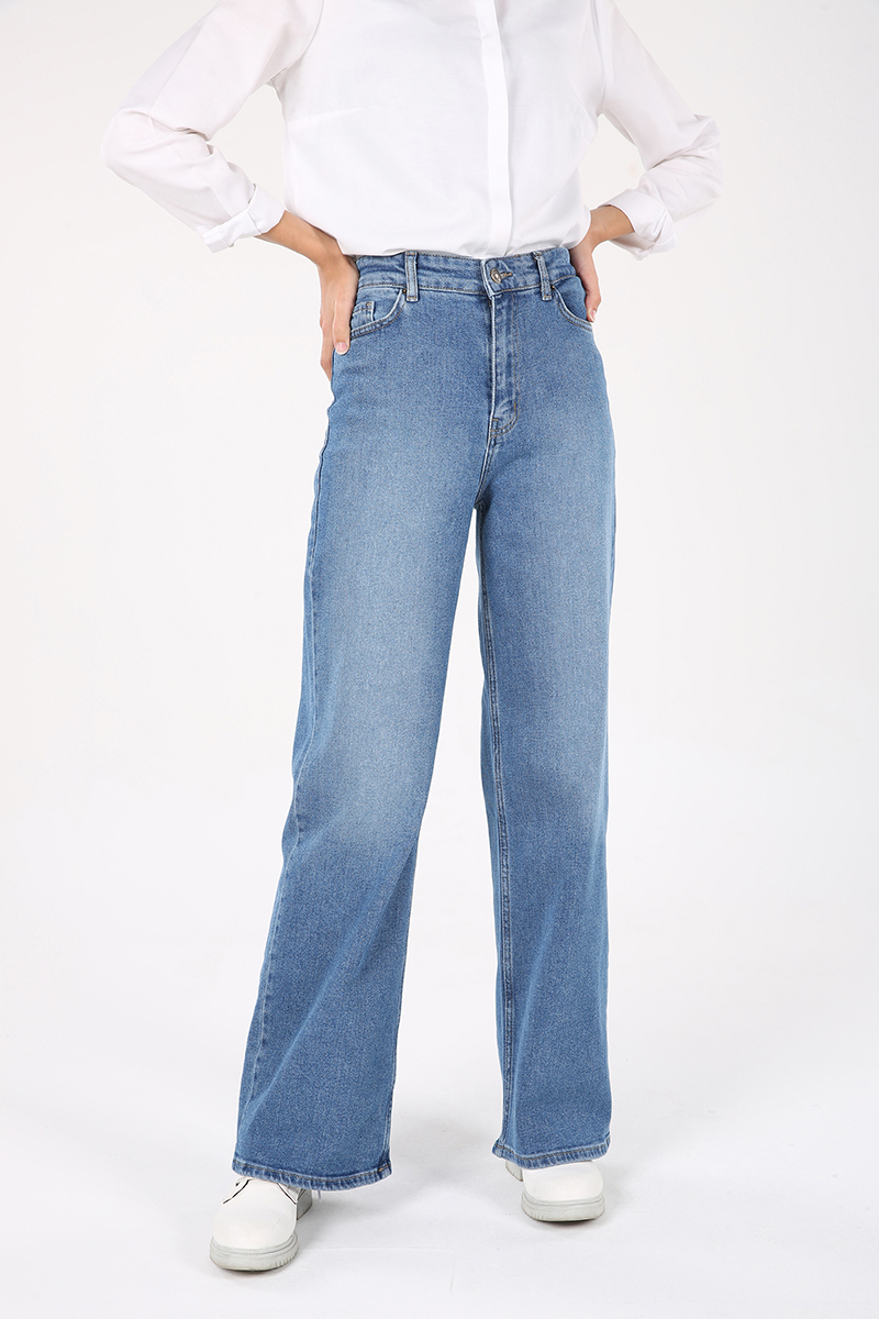 Pamuklu Bol Paça Denim Pantolon