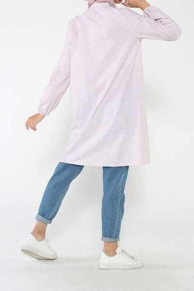 Pamuklu Büzgülü Çizgili Gömlek Tunik