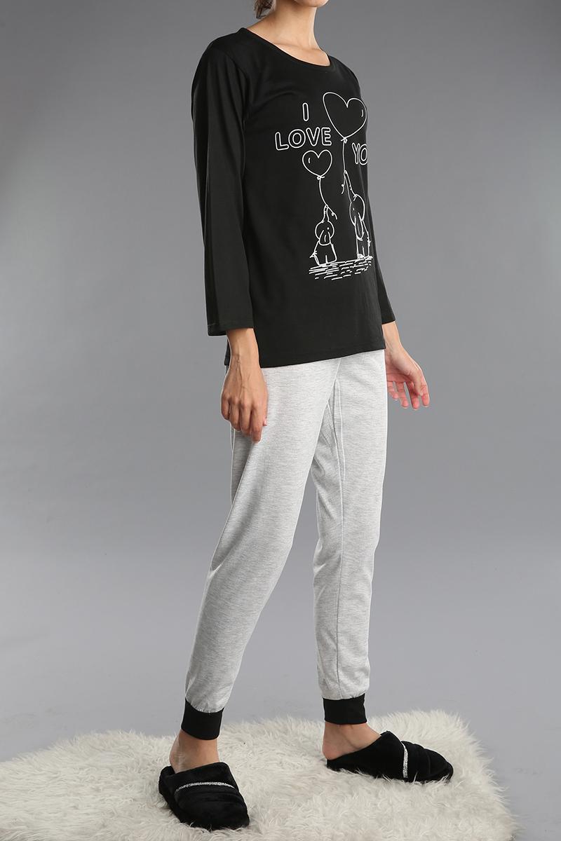 Pamuklu Baskılı Pijama Takımı