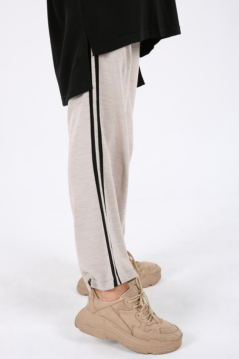 Yanları Şeritli Pantolonlu İkili Triko Takım