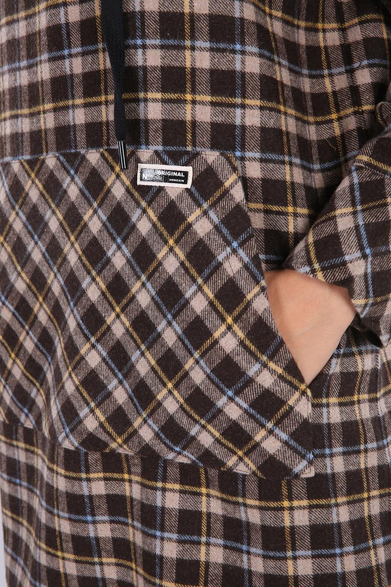 Pantolonlu Oduncu Ekoseli Cepli Kapüşonlu Takım