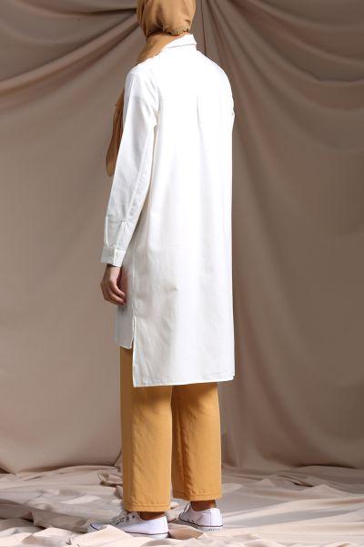 Patlı Düğmeli Gömlek Tunik