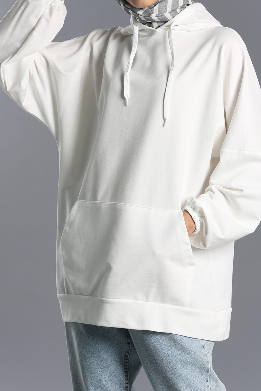 Kapüşonlu Cepli Sweatshirt