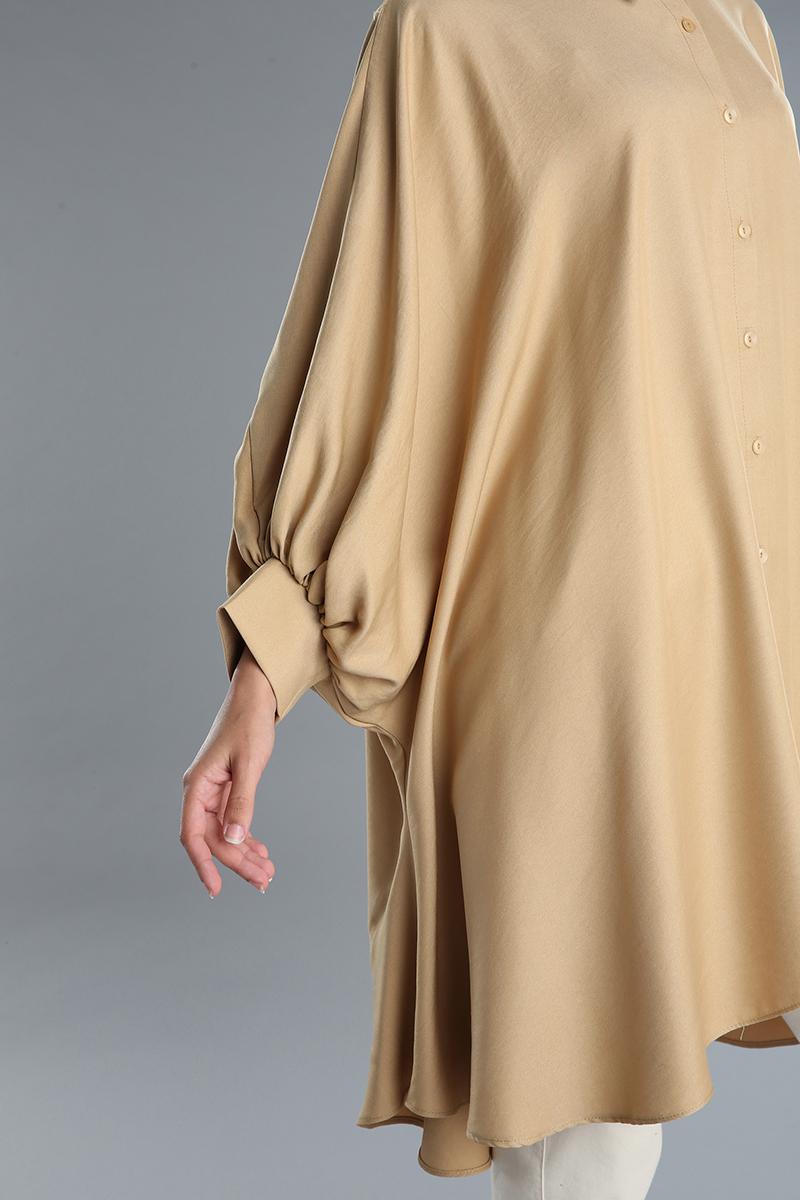 Salaş Düğmeli Yarasa Kol Gömlek Tunik