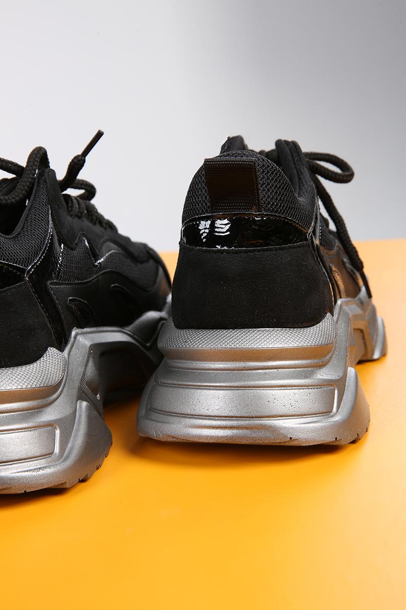 Tabanı Yüksek Bağcıklı Süet Ayakkabı