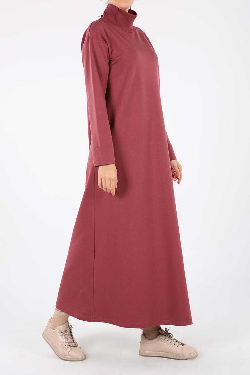 Yakası Kaşkorseli Kapalı Elbise