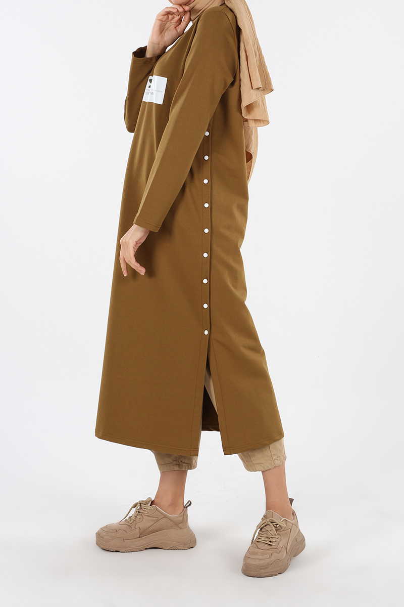 Yan Düğmeli Baskılı Elbise Tunik