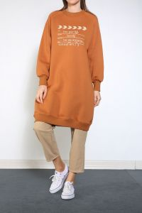 Yarece Reglan Kol Baskılı Sweat Tunik