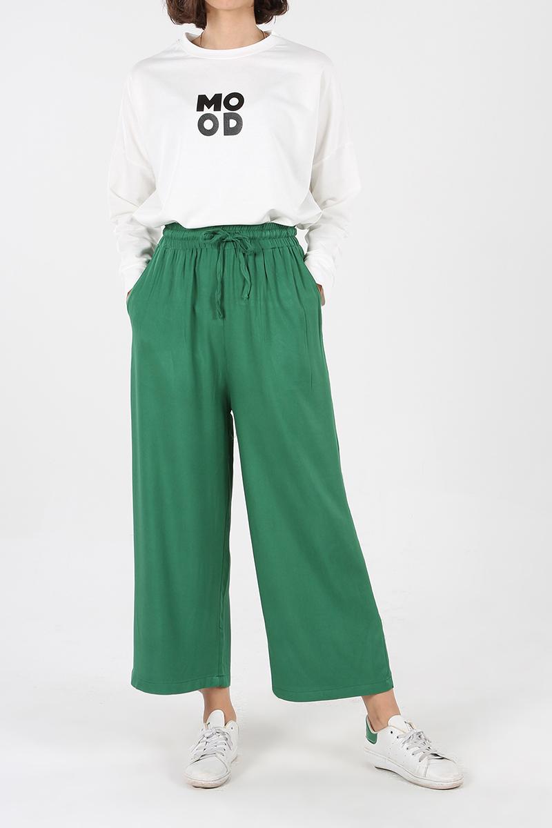 Yüksek Bel Bol Paça Pantolon